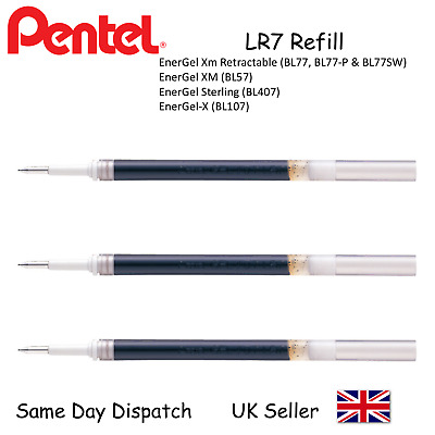 Pentel LR7 0.7mm Black Refill For Energel BL77 BL57 BL407 BL107 - Pack of 3