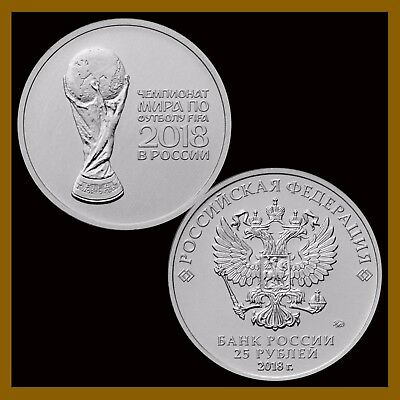 Russia 25 Rubles Coin, 2018 FIFA World Cup, Soccer Commemorative 2nd Issue UNC