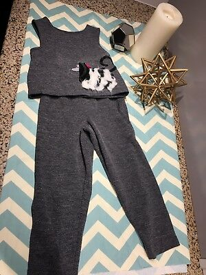 Chocolate Soup Gray 2 Pic Outfit Dog Jumper  Fall Winter Girls Size 4
