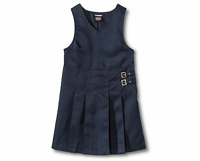 Uniform Girls Twin Buckle Tab Jumper French Toast Blue Pleated Size 16
