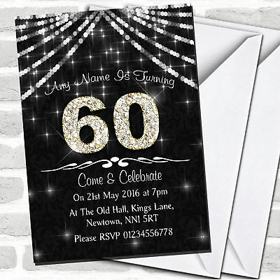 60Th Charcoal Grey & White Bling Sparkle Birthday Party Invitations