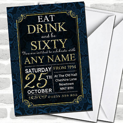 Blue & Gold Flowers 60th Birthday Party Invitations