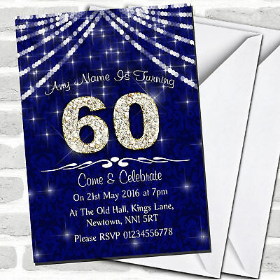 60Th Navy Blue & White Bling Sparkle Birthday Party Invitations