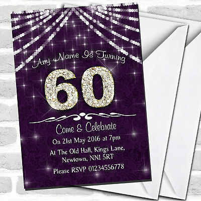 60Th Purple & White Bling Sparkle Birthday Party Invitations