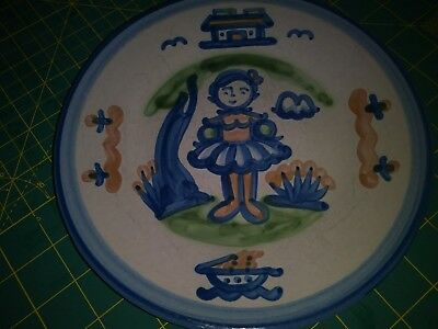 "RARE M.A.Hadley 8.5"" Plate w/Young Girl in Pretty Dress-Boat/House/Trees- EUC"