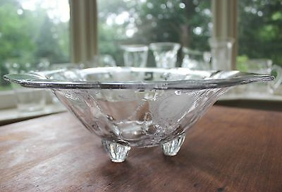 """Fab Vintage Heisey Minuet Elegant Glass Large 13"""" Footed Etched Centerpiece Bowl"""