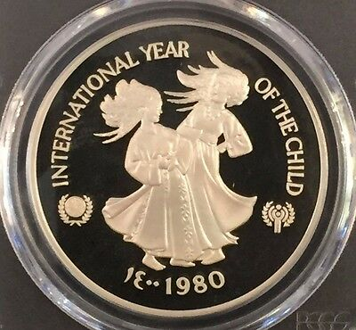 1980 United Arab Emirates Year Of The Child 50 Dirhams Pcgs Proof 69 Pop 5