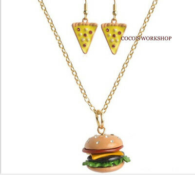 Funky Novelty Food Pizza Burger Necklace Earrings Set Girls Gift