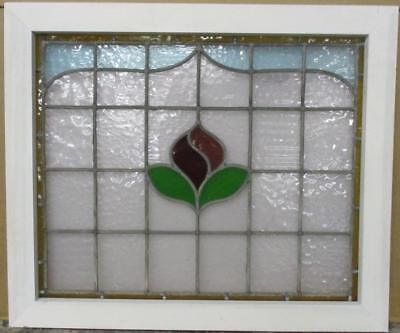 "MID SIZED OLD ENGLISH LEADED STAINED GLASS WINDOW Beautiful Floral 25.5"" x 22.75"