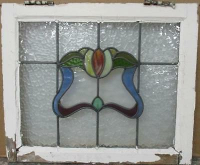"OLD ENGLISH LEADED STAINED GLASS WINDOW Gorgeous Floral 20.75"" x 17.25"""