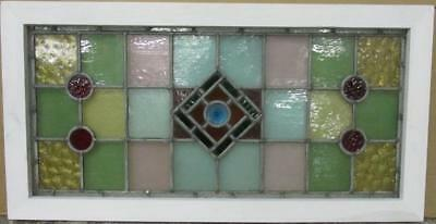 "LARGE OLD ENGLISH LEADED STAINED GLASS WINDOW Colorful Diamond Geo 34.75"" x 18"""