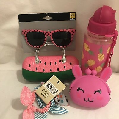 Lot Of Girls Accessories Sunglasses And Case Coin Purse Hair Ties Water Bottle