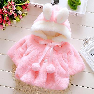 Baby Infant Girl Fur Winter Warm Hooded Coat Cloak Jacket Top Thick Clothes Suit