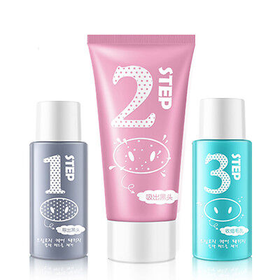 3 In 1 Set Facial Cleansing Mask Blackhead Remover Pore Cleanser Shrinking Pores
