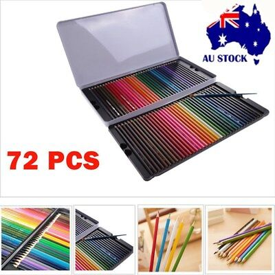 72x Water Color Drawing Pencils Metal Non-toxic Colored Soluble Sketching Kit AU