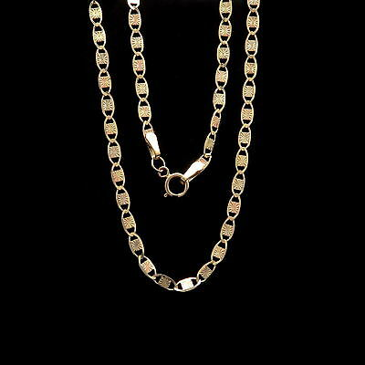 "18"" Valentino Link Chain 14k Solid Yellow Rose Gold Two-tone Necklace 3mm"