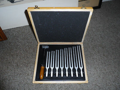 Set Of 8 Aluminum Tuning Forks With Mallet And Wooden Box In Very Good Condition
