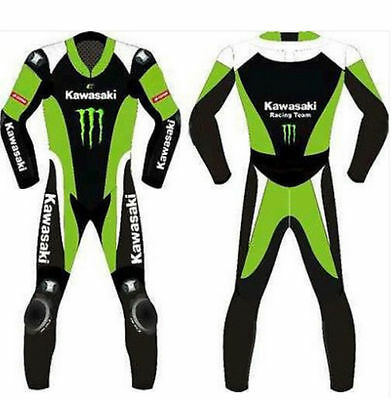 Kawasaki Moto Gp Motorcycle Motorbike  Racing With Armour Cow Hide Leather Suit