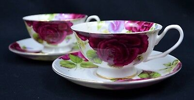 Country Rose Set Of Two Bone China 220cc Tea Cup And Saucer