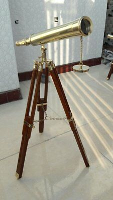 18-Inch Telescope In Heavy Brass + Rosewood Tripod Nautical Christmas Gift