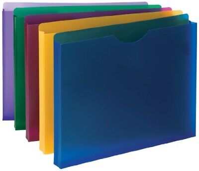 10 Letter Size Poly File Jackets Folders For Office Documents Assorted Colors