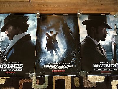 Sherlock Holmes Game Of Shadows Original Movie Poster 27x40 DS Lot Of 3