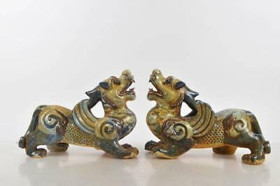 Rare Pair of Lg Chinese Glazed - Mythological Beast Statues - Xuande Reign Marks