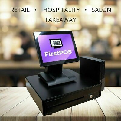 FirstPOS 12in Touch Screen EPOS POS Cash Register Till System Pub and Bar