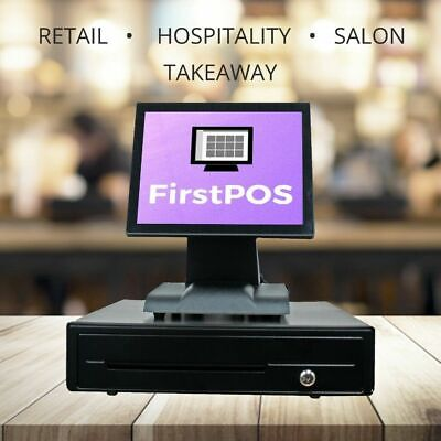 FirstPOS 12in Touch Screen EPOS POS Cash Register Till System Computer PC Shop