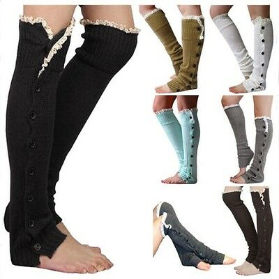 Women Winter Cable Knit Over Knee Long Boot Thigh-High Warm Socks Leggings GW