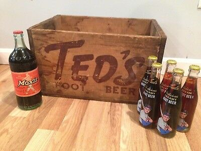 Vintage TED's Root Beer Ted Williams Wooden Soda Crate + Unopened Bottles Moxie