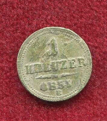 "Austria Transylvania 1851 1 Kreuzer ""E""  rare unclear copper coin,natural patina"