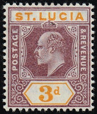St. Lucia 1904-10 3d. dull purple & yellow, MH (SG#70)