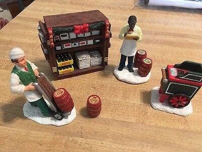 Lot of 5 1993 Coca Cola Town Square Collection figurines cart magazine rack, etc