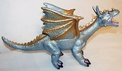 Action Figures Toy Major Rubber Dragon Metallic Blue Gold Standing Figure 2007 Medieval Monster Toys & Hobbies