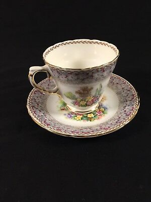Woodland Dell HM Sutherland Bone China Made In England Floral Teacup And Saucer