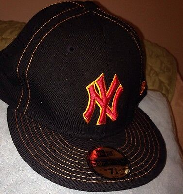 7fe600e9199 New NY New York Yankees New Era Black 59Fifty Fitted Cap Hat Size 7 5