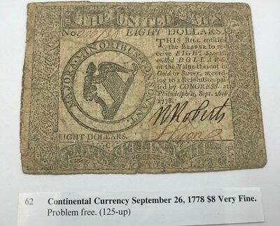 1778 Continental Currency $8 September 26, 1778 Very Fine