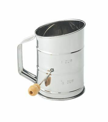 Mrs. Andersons Baking Hand Crank Flour Icing Sugar Sifter Stainless Steel 1-Cup