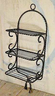 Vtg/Wall Shelf/Twisted Metal/Wire/Scroll/Tassel/Black/Gold/Shabby Cottage Chic