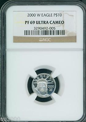 2000-W $10 PLATINUM EAGLE STATUE OF LIBERTY 1/10 Oz. NGC PR69 PROOF PF69 !!!