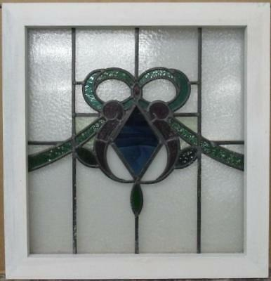 "OLD ENGLISH LEADED STAINED GLASS WINDOW Gorgeous Diamond Bow 21.75"" x 22.5"""