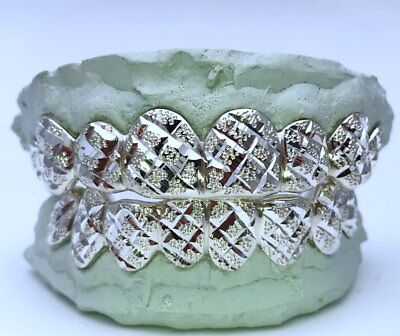 925 Solid Sterling Silver Princess Dust Cut Handmade Cutom Fit Grill Grillz