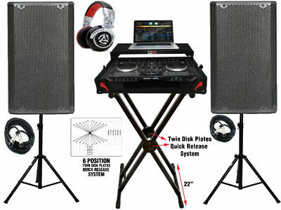 """Complete DJ System NS6II W/ Case,X-Stand, 2X 15"""" Speakers w/ Stands & Headphones"""