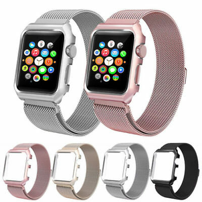 Milanese Stainless Steel Band Strap + Cover For Apple Watch Band iWacth 38/42mm