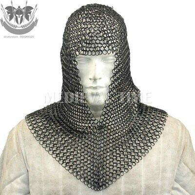 Chain Mail Coif Flat Riveted With Flat Washer Coif 9 mm Blackend Chainmail Hood