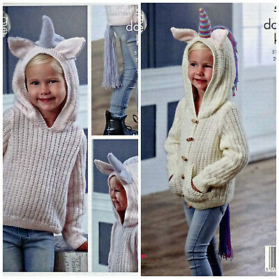 KNITTING PATTERN Girls Unicorn Hooded LongSleeve Jacket & Jumper PATTERN DK 5036