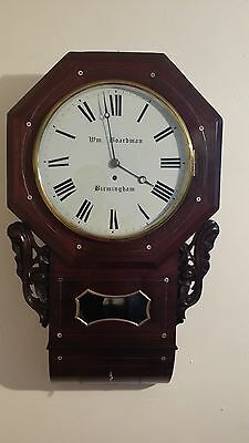 Single Fusee drop dial wall clock in Rosewood with mother of pearl inlay