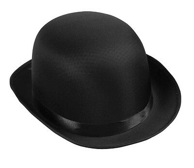 Deluxe Adult Black Bowler Hat Satin Derby Cap Masquerade Ball Costume Mens  NEW 7d4a81a940fd