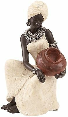 African Woman Figurine Sculpture Statue w/Water Bowl ~ Hand Painted Collectible